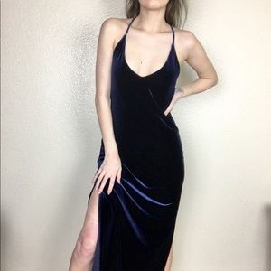 Vintage vtg velvet open back vneck Slit Maxi Dress